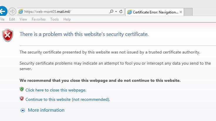 dod security error certificate militarycac certificates website windows installing follow below guide