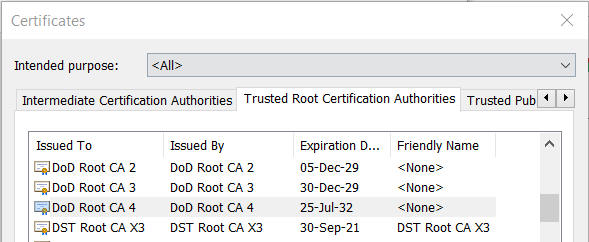 root dod militarycac trusted authorities certification verify tab open certificates